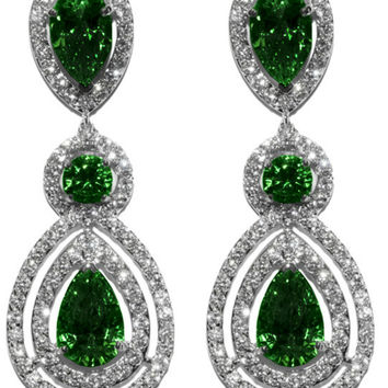 Louisa Emerald Pear Halo Chandelier Earrings | Cubic Zirconia