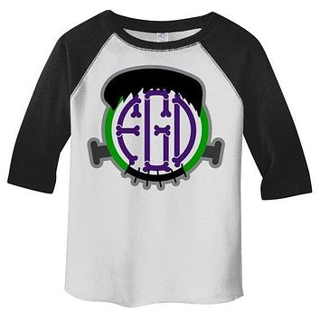 Toddler Boy's Personalized Halloween T Shirt 3/4 Sleeve Raglan Monogram Frankenstein Custom Shirts