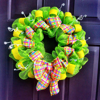 Deco Mesh Wreath Summer for Front Door Plaid by WeHaveWreaths