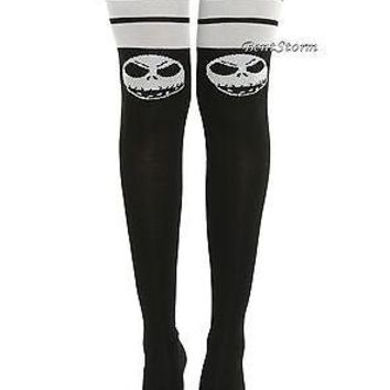 Licensed cool Disney The Nightmare Before Christmas Jack Face Ladies Over-The-Knee Hi Socks