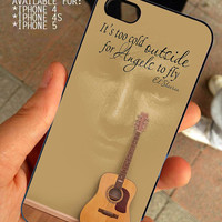 Ed Sheeran Quote And Acoustic Guitar for iPhone 4 / 4s or 5 case cover, Black or White