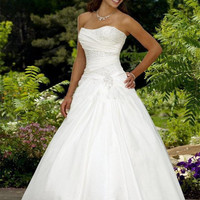 2016 Sexy Modest A-line Strapless Court Train Taffeta Beaded Elegant Wedding Dress Plus Size Hippie Dresses