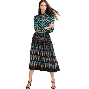 2017 Top Fashion Runway Bohemian Outfit Blouse Pleated Skirt Women Vintage Printed 2 Pieces Set Celebrity Twin Set Plus Size 4XL
