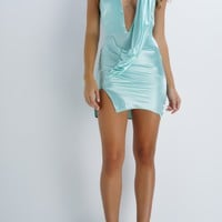 BRITTANY BEAR Satin Mini Dress - Aqua