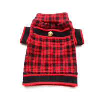 Designer Dog Sweater, X Small Red and Black Plaid with Pocket Pet Puppy Apparel Clothes