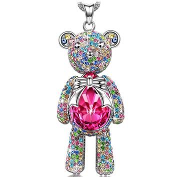 """J.NINA Necklace, ♥Mom Gifts from Daughter♥ with Exquisite Package Bear Princess Rose Crystals from Swarovski, Cute Bear Limb-Rotating Design Women Pendant Jewelry, 18''+ 2"""" Extender"""