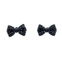 Black Rhinestone Bow Post Earrings