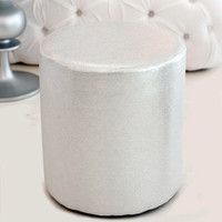 upholstered stool silver metallic - $299.00 : brocade home