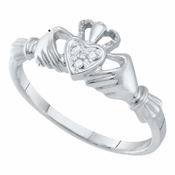 10kt White Gold Womens Round Diamond Claddagh Heart Ring .01 Cttw
