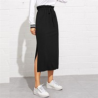 Black Paperbag Waist Split Side Skirt Autumn Casual Workwear Women Maxi Skirt High Waist Belted Split Hem Midi Skirt