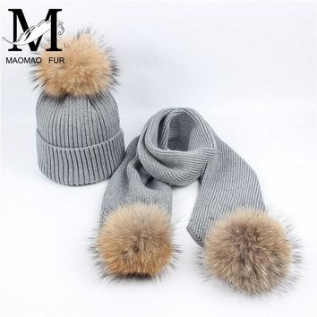 Women Scarf And Hat Set Winter Fashion Warm Woolen Knitted Scarf And Cap Ladies Real Big Raccoon Fur Pom Pom Hats and Scarves