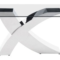 Wave Rectangular Dining Table Stainless Steel and Glass