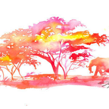 Watercolor Africa Inspired Painting Jessica by JessicaIllustration