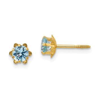 Kids 14k Yellow Gold 4mm Synthetic Aquamarine Screw Back Stud Earrings