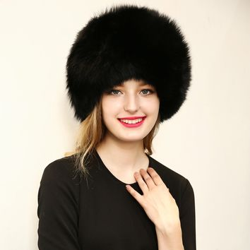 New 2016 Warm Women's Hat Faux Fur Crochet Beanies Caps Fox Fur Pompom Ball Pendant Russian Style Windproof Ear Prot