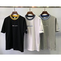 Champion x BY co-branded tide brand embroidery letter cotton loose round neck half-sleeved T-shirt