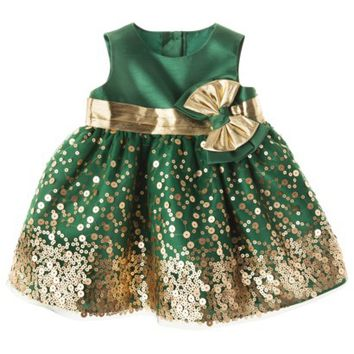 Rosenau™ Newborn Girls' Sequin Dress and Panty - Gold