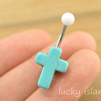 belly ring,belly button jewelry,turquoise belly button rings,cross navel ring,piercing belly ring,cross body piercing bellyring,BFF gift
