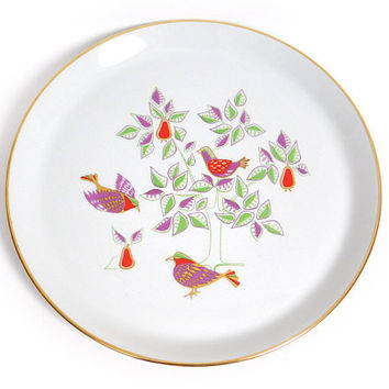 Mid Century Modern Christmas Plate - 1965 Shenango Twelve Days of Christmas- Two Turtle Doves by Dick Litzel - Mod Holiday Dinner Dish