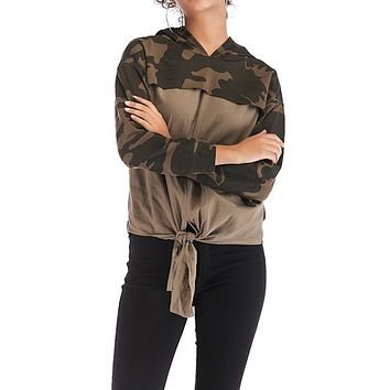 Hoodie Women's Color Block Camouflage Lace Up Long Sleeve