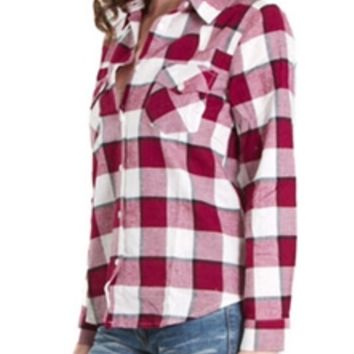 Ellison Plaid Button Down Flannel Shirt for Women RD8840