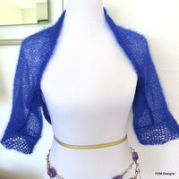 Short Cropped Hand Knit Sweater Jacket, Light Weight Silk Mohair hand knit royal blue shrug