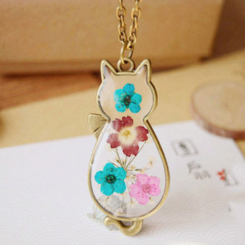 Vintage Floral Cat Necklace