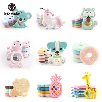 Let's make 5pc Silicone Teether Food Grade BPA Free DIY Baby Teething Necklace Nursing Materials Silicone Animals Baby Teether