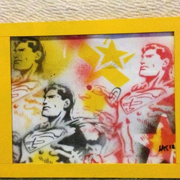 Superman framed painting,yellow,stencil art,superheros,dc comics,pop art,chains,original,stars,comics,wall art,kids,gift,60s,hero,handmade