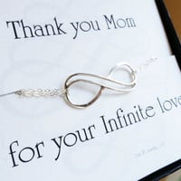 Mothers card with silver infinity bracelet, gifts for mom, Double infinity bracelet, mother of the bride gift, mother of the groom