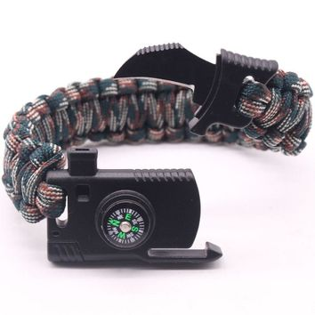 Outdoor Survival Bracelet Men Women Braided Paracord Camping Hiking Rescue Emergency Bangles Compass Whistle Knife 5 in 1 Tools