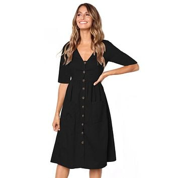 Black Button Front Midi Dress with Pockets