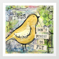 Don't Forget To Fly Art Print by Misty Diller of Misty Michelle Design