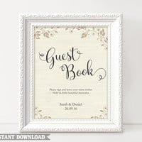 Guest Book Sign, Wedding Guest Book Sign, Printable Guest Book Sign, Wedding Signs, Guestbook Sign Template, Texture Gold Sign Download