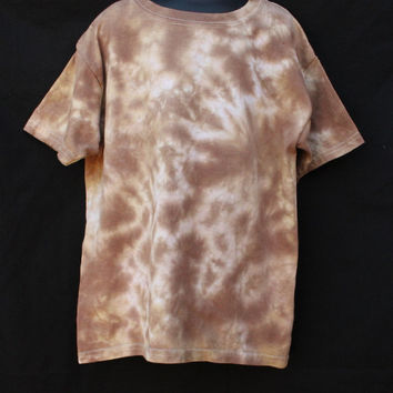 Tie Dyed Youth Small Shirt, Shades of Brown Scrunch Tie Dye