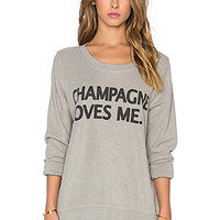Champagne Loves Me Long Sleeve Tee in Platinum