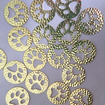 Paw Print Pendants - Set of 10 - Hammered gold color - pet dog cat bear cubs team school - Charm Necklace earring Jewelry Making supplies