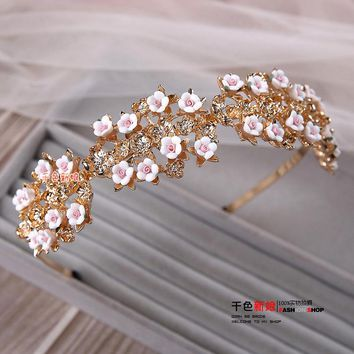 T Fashion Gold color floral hairband girl  pink flower hairwear crown party wedding hair accessories bride headpiece huamei
