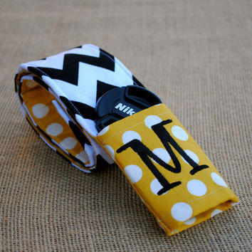 Monogrammed chevron camera strap cover (gold/black)