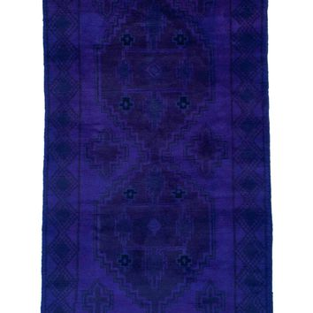 3x6 Overdyed Vintage Tribal Purple Rug 2547