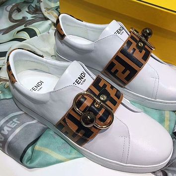 FENDI : Popular Women Casual Leather Simple Buckle Sports Shoes Sneakers I-OMDP-GD