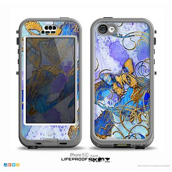 The Blue Bright Watercolor Butter-Floral Skin for the iPhone 5c nüüd LifeProof Case