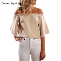 Simplee Apparel Summer style backless cool blouse shirt Sexy off shoulder office blouse Women tops black OL casual blusas female