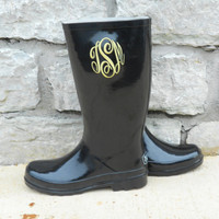 Monogrammed Rain Boots Black  Font Shown MASTER CIRCLE  Jan.1st