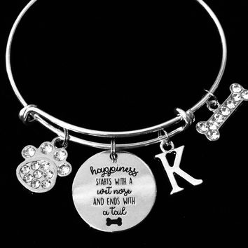Happiness Starts with a Wet Nose and Ends with a Tail Personalized Dog Lover Expandable Charm Bracelet Paw Print Jewelry Adjustable Silver Bangle One Size Fits All Gift  Crystal Paw Print Crystal Dog Bone