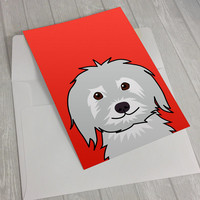 Dog Greeting Card - White Dog Greeting Card - Card for dog lovers - dog lover card - notecard for dog lovers - shaggy dog greeting card