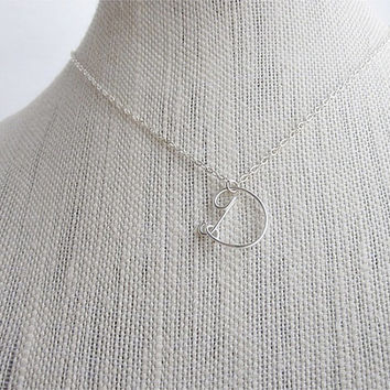 FREE SHIPPING!!!  Initial D Wire Word Pendant Necklace Cursive