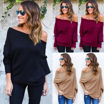 Womens Off Shoulder Loose Long Sleeve Oversize Sweater Jumper Ladies Shirt Tops