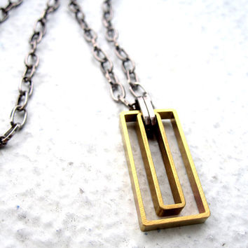 Geometric Necklace Mens Necklace Rectangle Mixed by pearlatplay