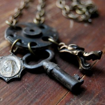 Heaven or Hell Steampunk Necklace with Wolf and by calloohcallay